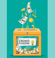 donation box and money vector image vector image