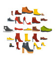 footwear shoes icon set isolated flat style vector image vector image