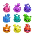 Funny cartoon colorful little bubble characters vector image vector image