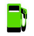 gas pump sign green 3d icon with black vector image vector image