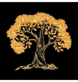 Golden tree on black vector image vector image