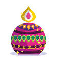 happy diwali festival round burning candle vector image vector image
