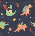 holiday seamless pattern with cute dinos a vector image