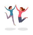 jumping girls flat cheerful vector image