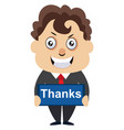 man with thanks sign on white background vector image vector image