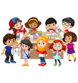 many kids learning math in classroom vector image vector image