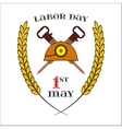 May 1st Labor Day Crossed jackhammers and helmet vector image vector image