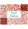 Meat and sausages seamless patterns vector image vector image