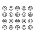 media player line button icon set vector image vector image