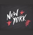 new york lettering handwritten sign hand drawn vector image