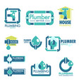 plumber house service fixing leakage and pipe vector image vector image