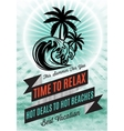 retro poster with palm tree and an inscription vector image