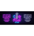 rock star neon sign rock star logo vector image vector image
