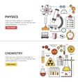 Science banner concepts in line style vector image