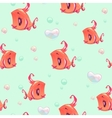 Seamless pattern with funny red girl fishes vector image vector image