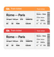 set of the train boarding pass tickets isolated vector image