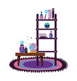 shelving and table with magic potion bottles vector image