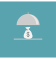 Silver platter cloche and money bag Flat design vector image vector image