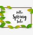 spring sale banner green leaves square frame on vector image
