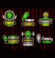standup comedy open microphone comedian symbols vector image vector image