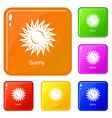 sunny icons set color vector image