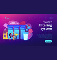 water filtering system concept landing page vector image vector image