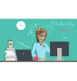 Wednesday Wworking Day Woman Planning her Work vector image vector image