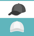 white cap in front view and black cap in side view vector image vector image