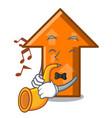 with trumpet arrow mascot cartoon style vector image