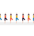 yoga class seamless border women fitness vector image