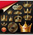 golden royal crowns vector image
