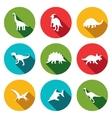 Dinosaurs flat icons set vector image