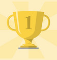 gold trophy winner cup with 1 symbol on the vector image