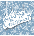 Hanging text Merry Christmas on blue background vector image