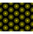 Yellow Flower on Black Background Seamless Pattern vector image