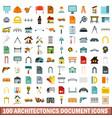 100 architectonics document icons set flat style vector image vector image