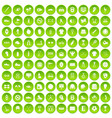 100 sport equipment icons set green circle vector image vector image