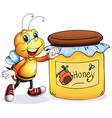 A bee beside the jar of honey vector image