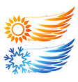 air conditioning sun and snowflake wings vector image vector image
