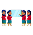 arab muslim girl kid poses set high vector image vector image