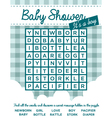 Baby Boy Shower Invitation with Word Puzzle vector image