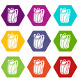 backpack icons set 9 vector image vector image