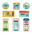 baggage tags retro tickets for travellers luggage vector image vector image