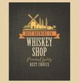 banner for whiskey shop with village landscape vector image vector image