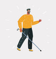 blind young man with a cane vector image vector image