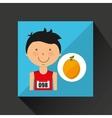 cartoon boy athlete with orange vector image
