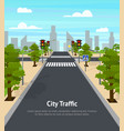 cartoon city crossroad traffic lights card poster vector image vector image