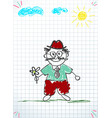 children colorful hand drawn of grandfather vector image vector image