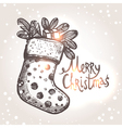 Christmas Card With Christmas Sock vector image