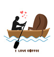 Coffee lovers Man and coffee beans ride in boat